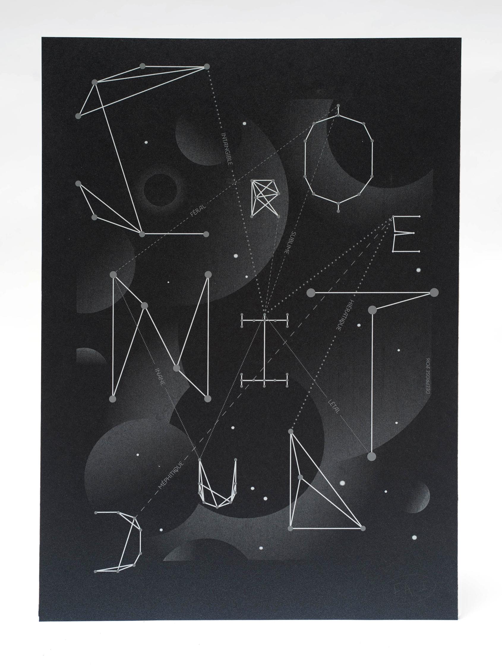 Affiche réalisée par Deeprose et sérigraphiée par Sacrés Caractères Letterpress