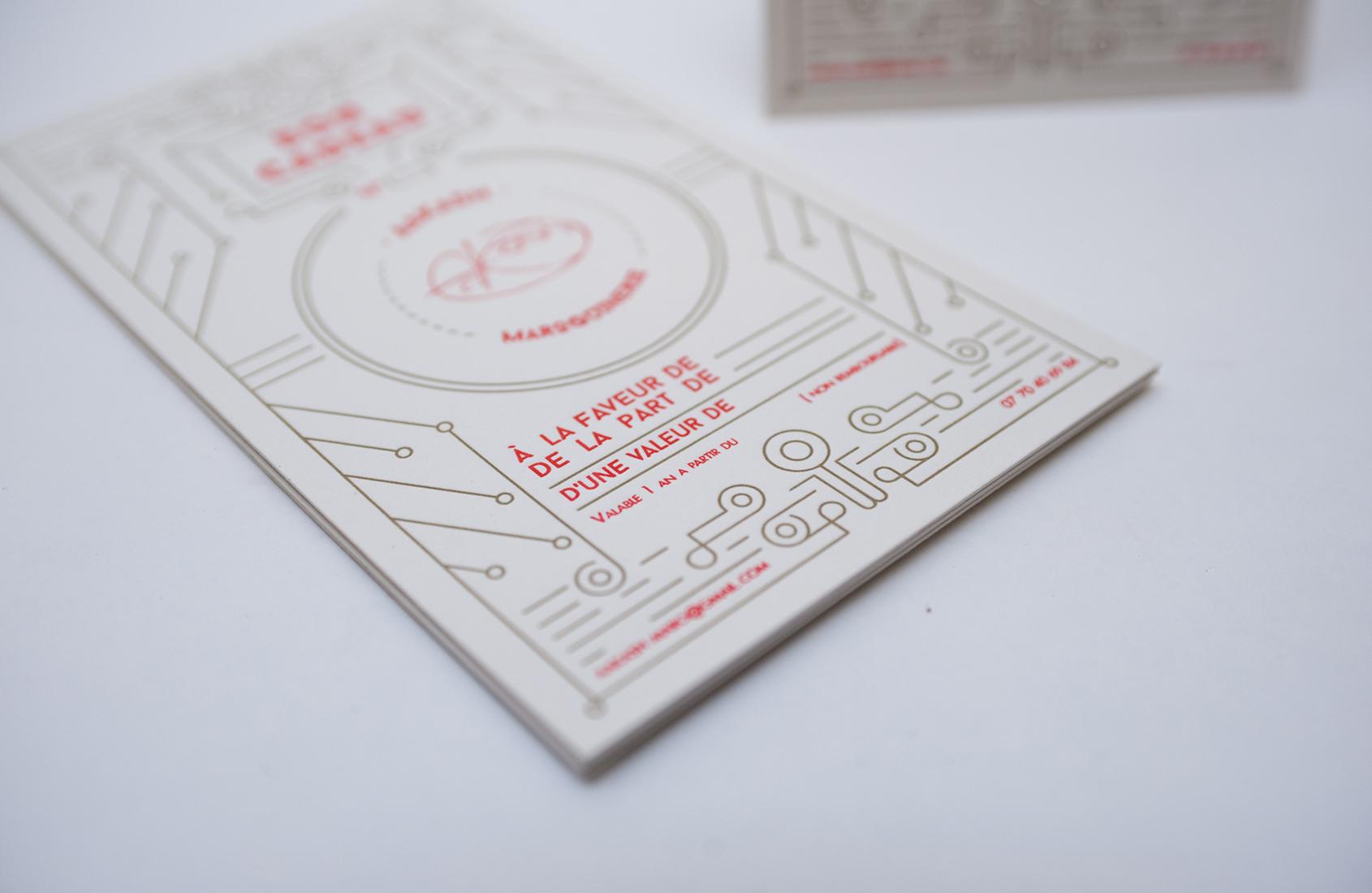 Bons cadeaux letterpress réalisés pour Aakash Maroquinerie.