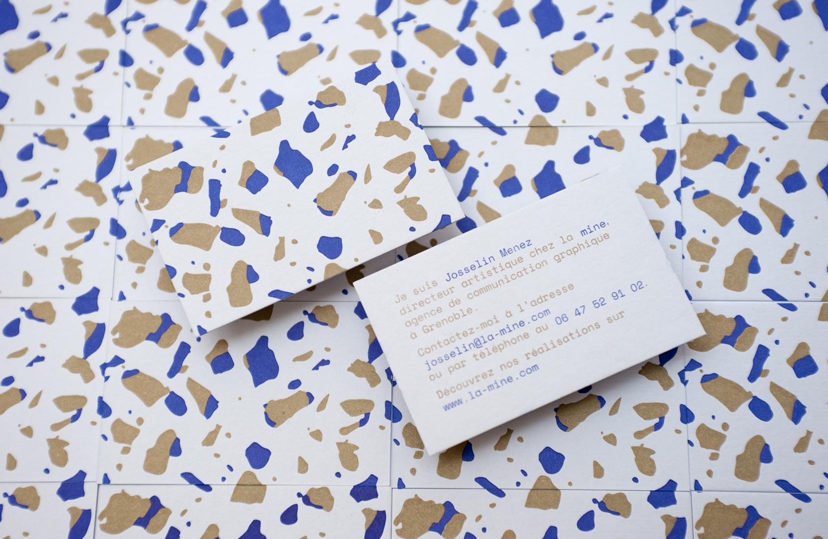 Cartes De Visites Letterpress Impression Deux Couleurs Realisees Pour Lagence Communication