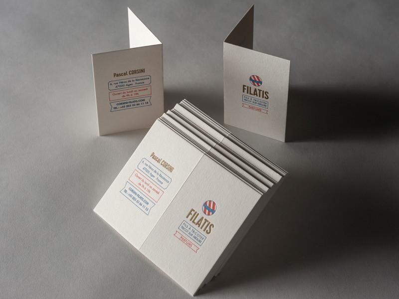 Cartes de visite pliées réalisée pour la boutique FILATIS.