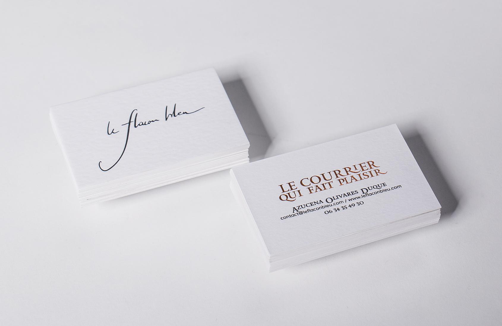 Cartes de visites letterpress réalisées pour la papeterie Le Flacon Bleu.