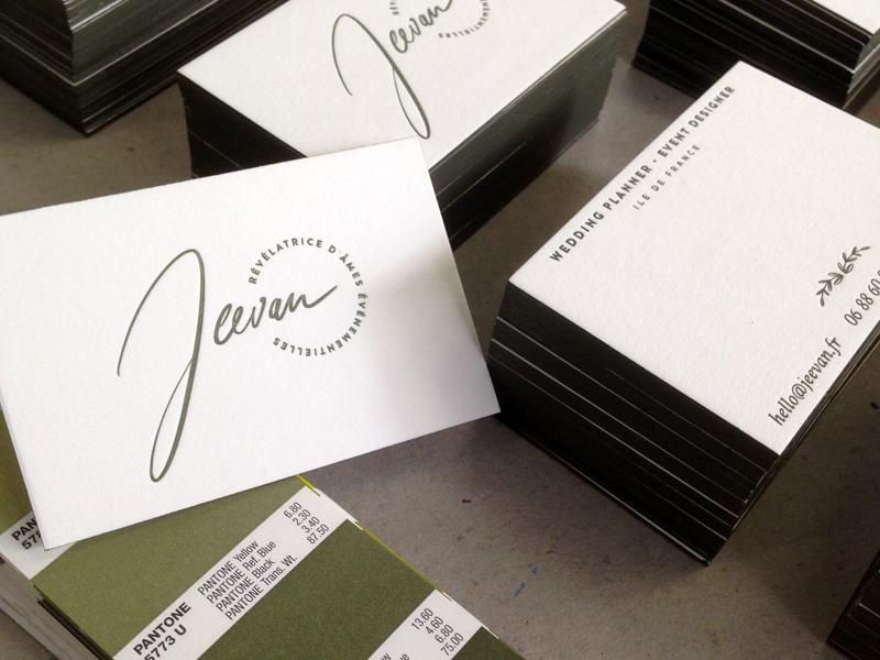 Cartes de visite réalisées pour l'agence de wedding planner et évènementiel JEEVAN.