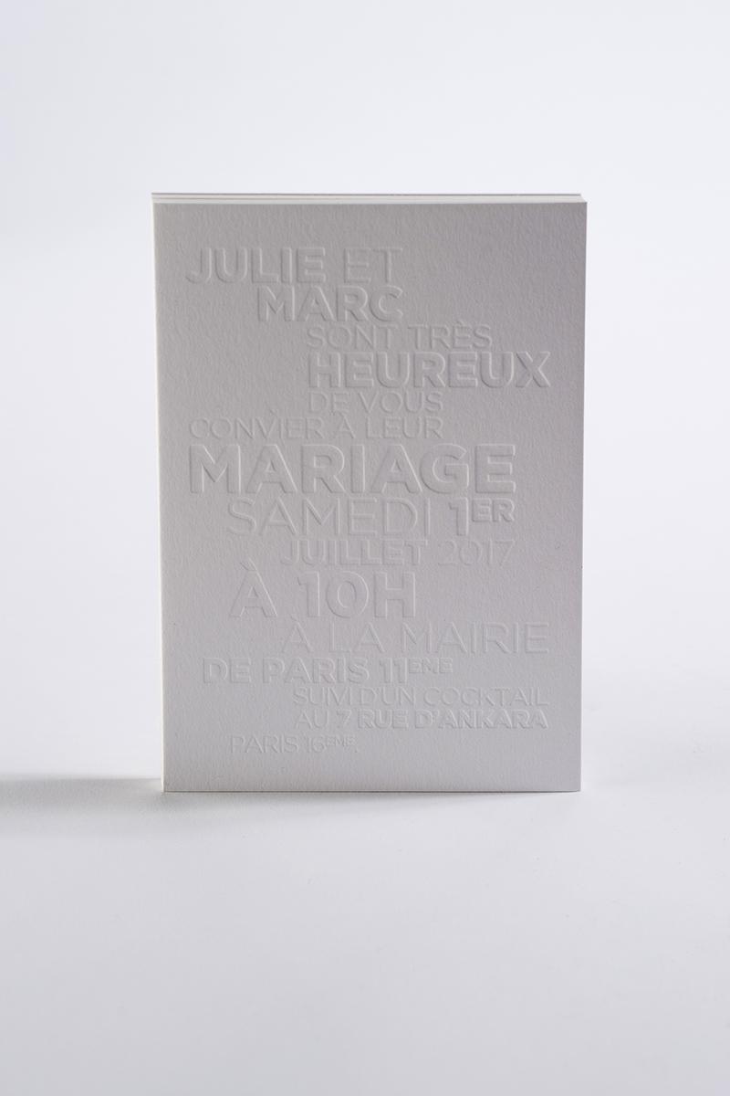 Faire-part letterpress de mariage de Julie et Marc.