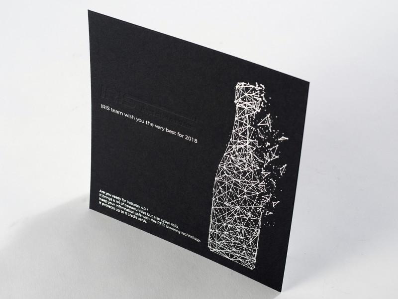 Carte de voeux letterpress réalisées pour la société Iris.